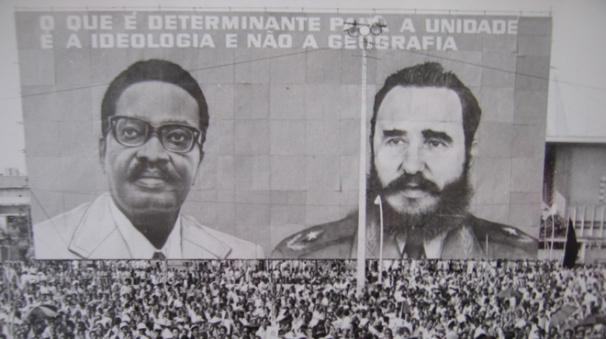 Poster of President Agostinho Neto and Fidel Castro after Angolan independence celebration