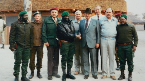 South African President PW Botha visits Angolan Rebel leader Jonas Savimbi