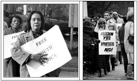 Coretta Scott King (left) and Rosa Parks (right) protesting outside the South African Embassy in Washington, DC in 1985