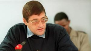 Eugene De Kock speaks at a Truth and Reconciliation Commission hearing in 1999