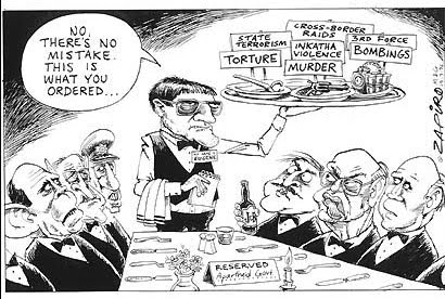 "Political cartoon showing de Kock having taken orders from apartheid leaders, including presidents PW Botha and FW de Klerk, to carry out everything from ""murder"" and ""torture"" to ""bombings"" and ""state terrorism."""