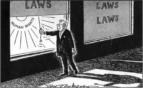 """Cartoon from the 1950s showing then-Prime Minister H.F. Verwoerd, the """"architect of apartheid"""""""