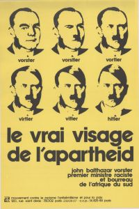"1970s French anti-apartheid poster comparing South African Prime Minister BJ Vorster with Hitler: ""The Real Face of Apartheid"""