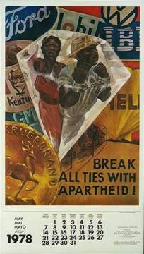 1978 calendar supporting a call for a boycott of companies who did business with the apartheid regime